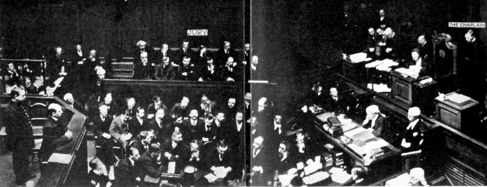 1912: Poisoner Frederick Seddon being sentenced to death by Mr. Justice Bucknill. This is the only known photograph of a British judge passing a death sentence.