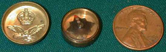 One of his actual inventions, a miniature escape compass inside a tunic button.