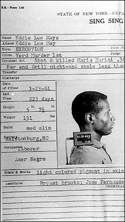 Eddie Lee Mays, his Death House file at Sing Sing Prison.