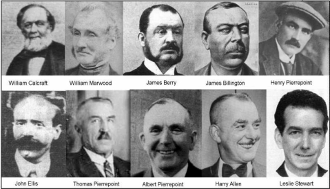Bottom right: Harry Allen and Robert Leslie Stewart, their executioners.