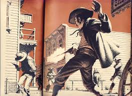 The stylised version of a Wild West gunfight. These almost never happened.